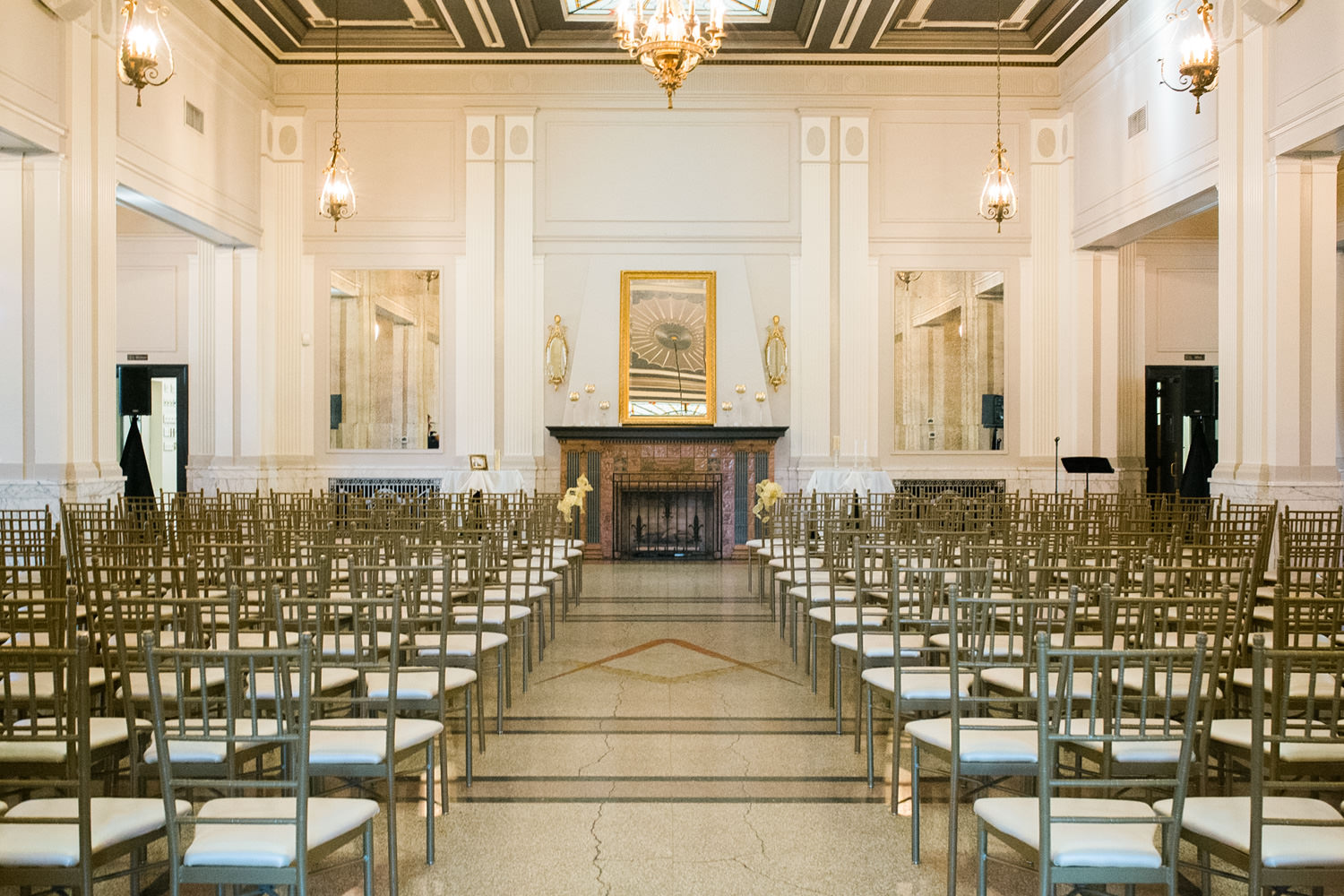 Indoor ceremony setup at The Olmsted, Louisville Ky