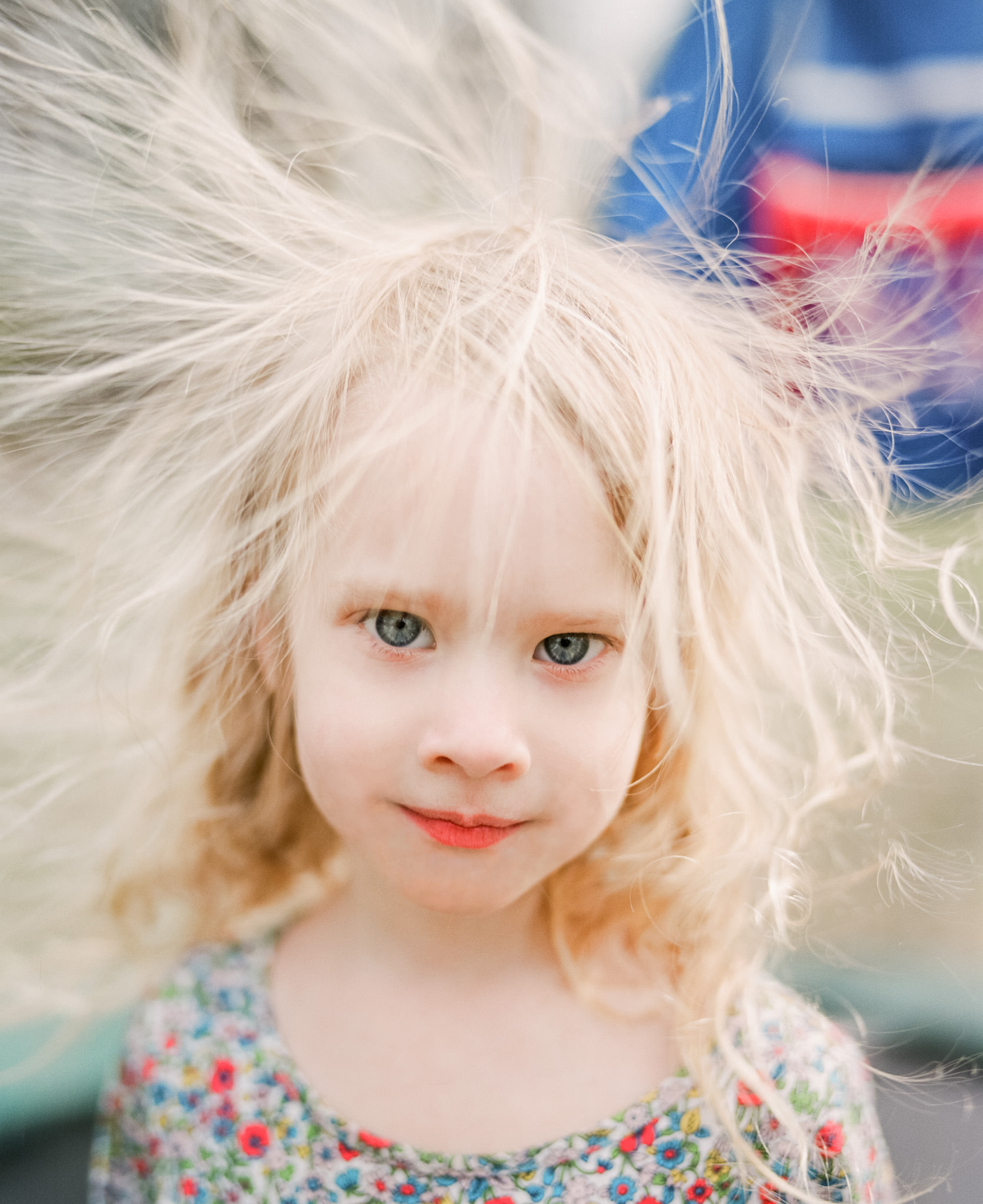 Image of girl with static hair taken with Pentax 67 75mm AL through a Pentax 67
