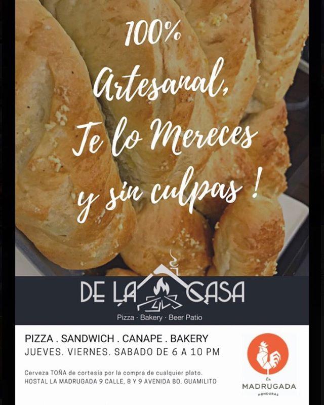 Pizza y pan 100% artesanal, ven y disfruta, te lo mereces!🔥😉 #thenewmadrugada #fivestarscountry #food #hostelife #pizzalover