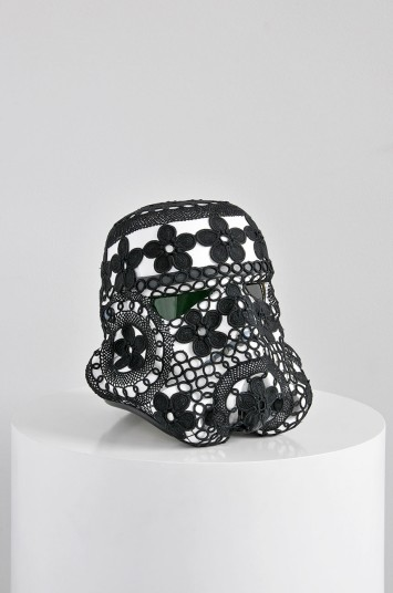 'Crochet Vader' Acrylic capped ABS Stormtrooper helmet, Azores crocheted lace31 x 33 x 35 cm© Unidade Infinita Projectos.2013. Signed by Joana Vasconcelos and Andrew Ainsworth.