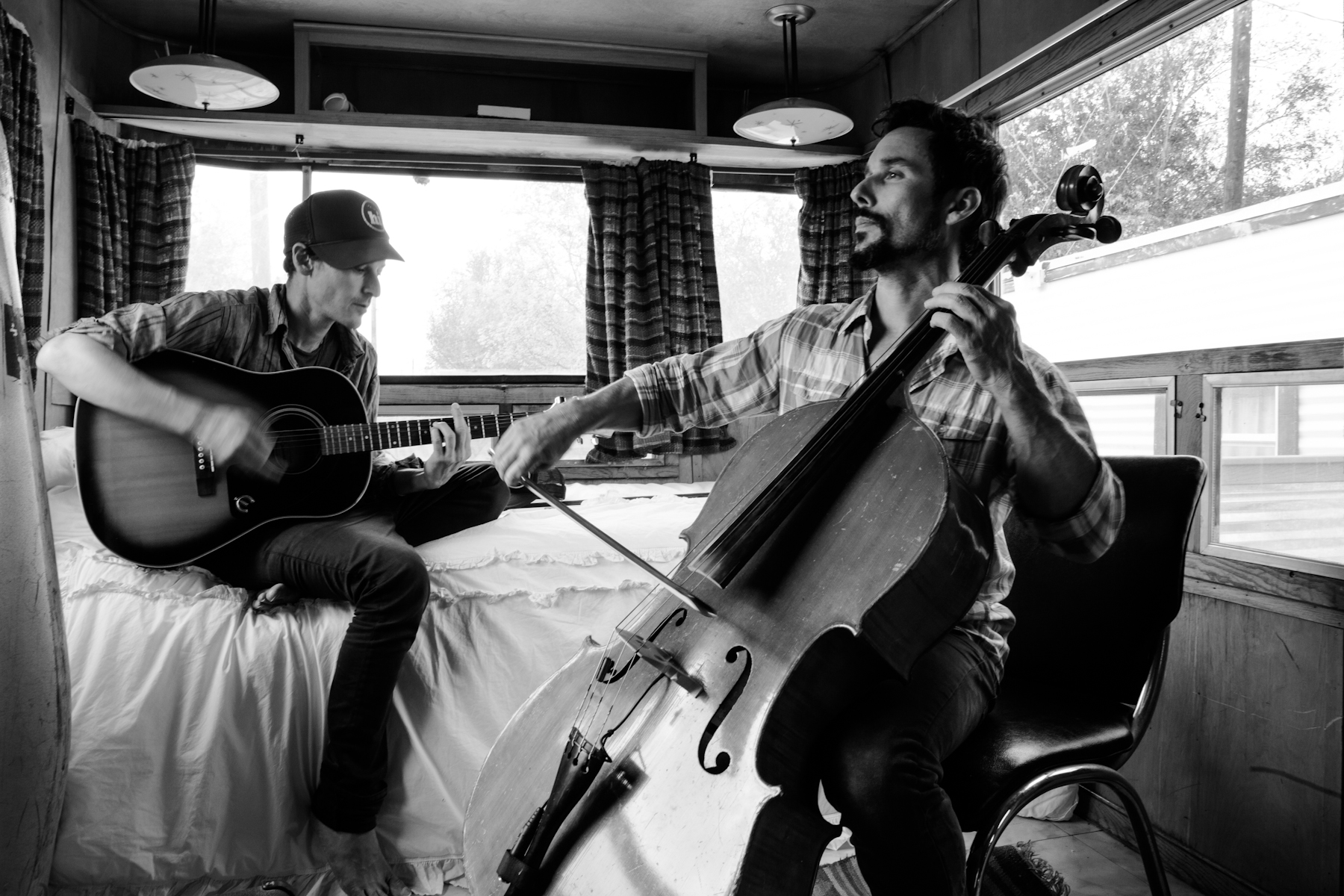 Rehearsing cello parts in the airstream with Joseph Santori.