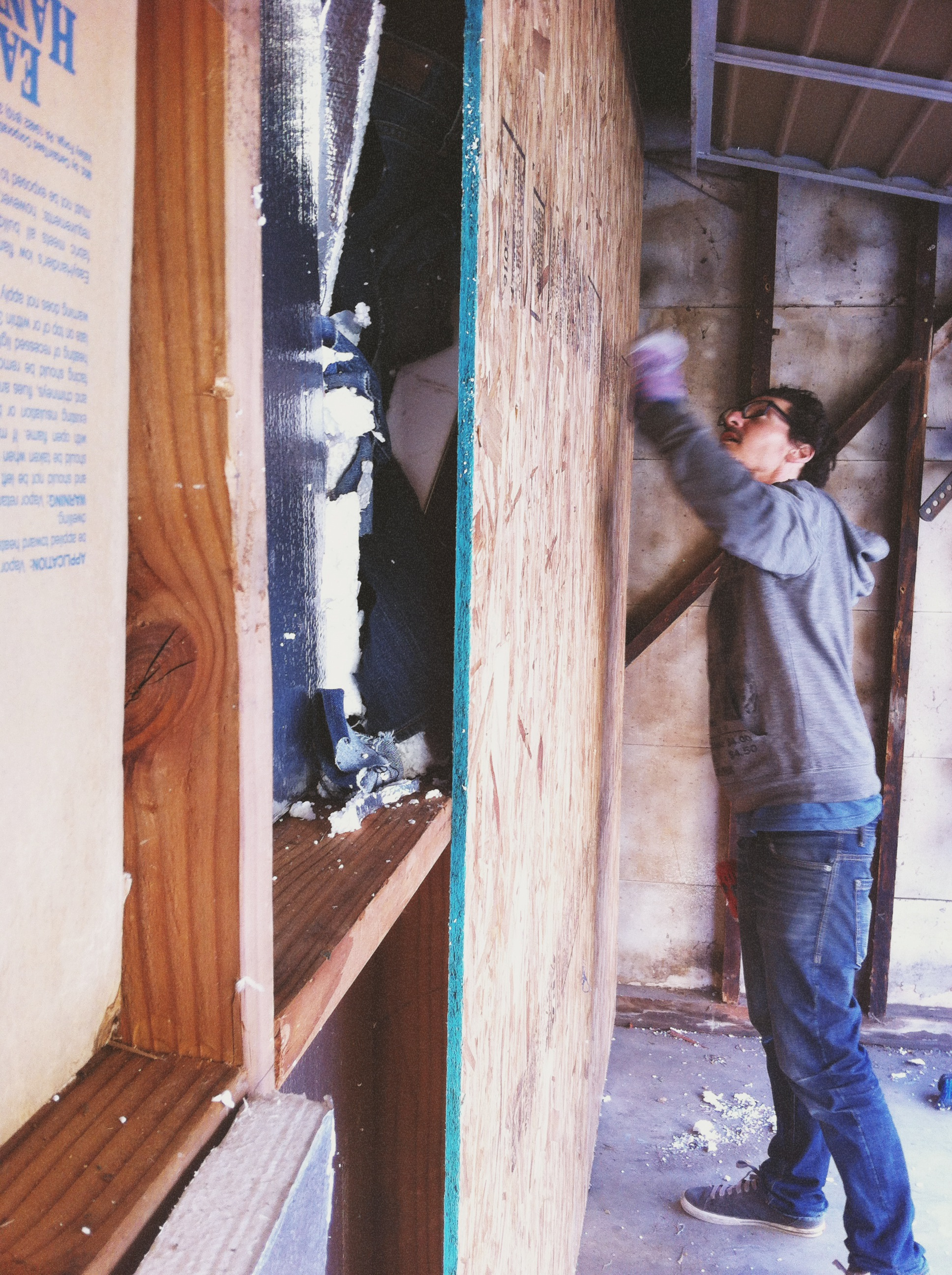 Besides the plywood sheets and screws, we used all recycled materials, including foam panels and jeans from Goodwill for soundproofing insulation.
