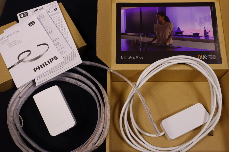 Contents of the Philips Hue Lightstrip Plus box
