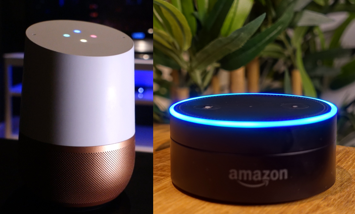 The Google Home and Amazon Echo Dot smart speakers, side-by-side.