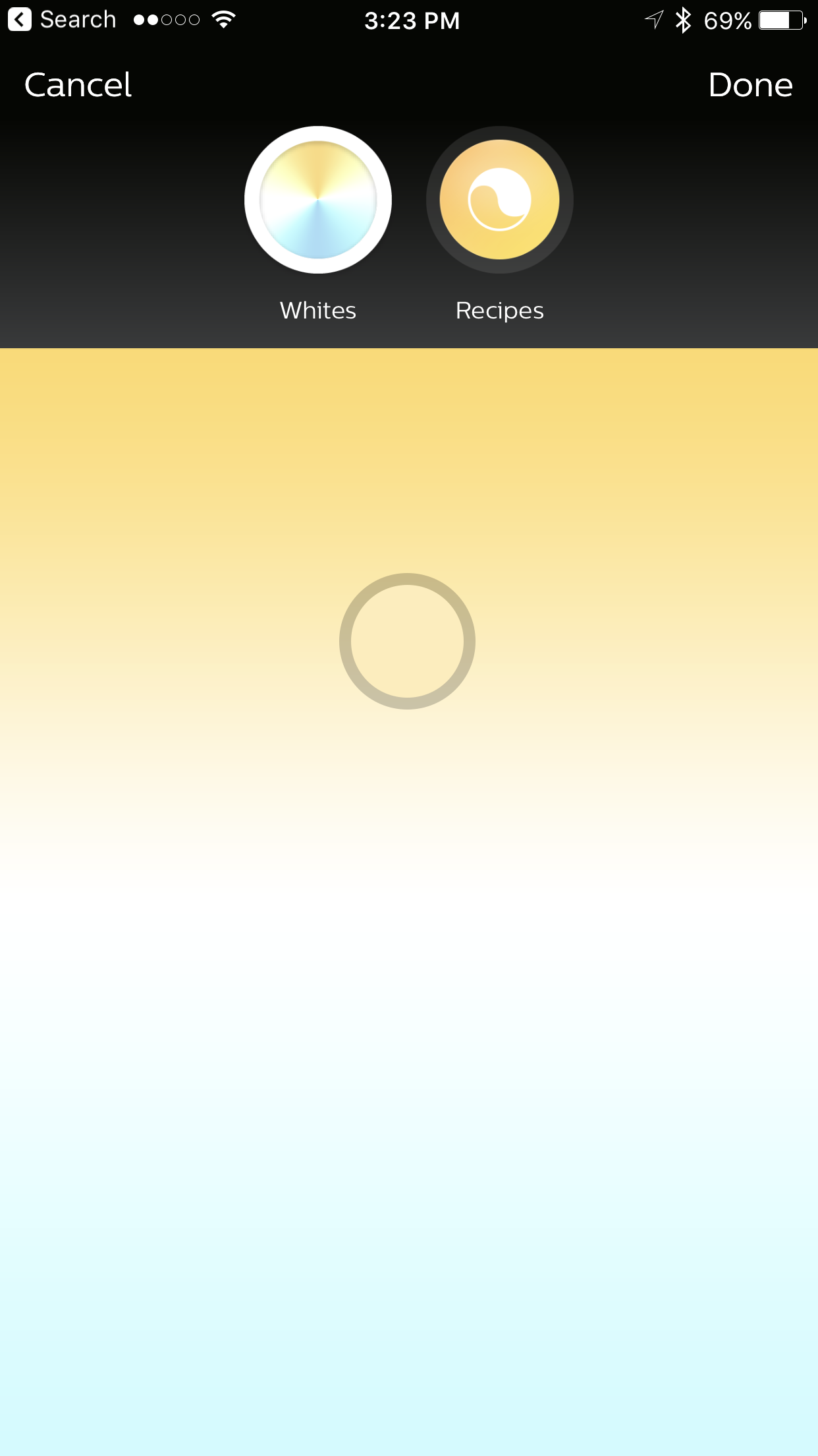 Control of color temperature is achieved via the Philips Hue or other compatible app.