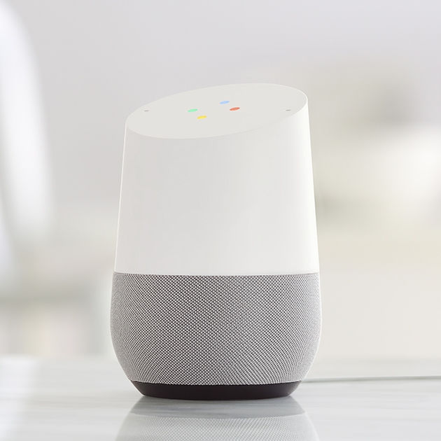 Google Home with gray fabric base