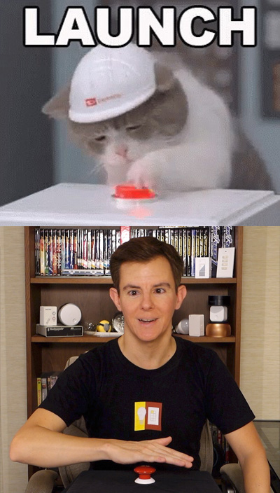 Cats and humans can't resist buttons!