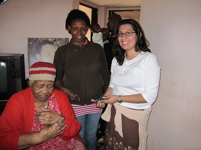Thousand Currents Regional Program Director, Katherine Zavala meeting with Prudence's family in South Africa
