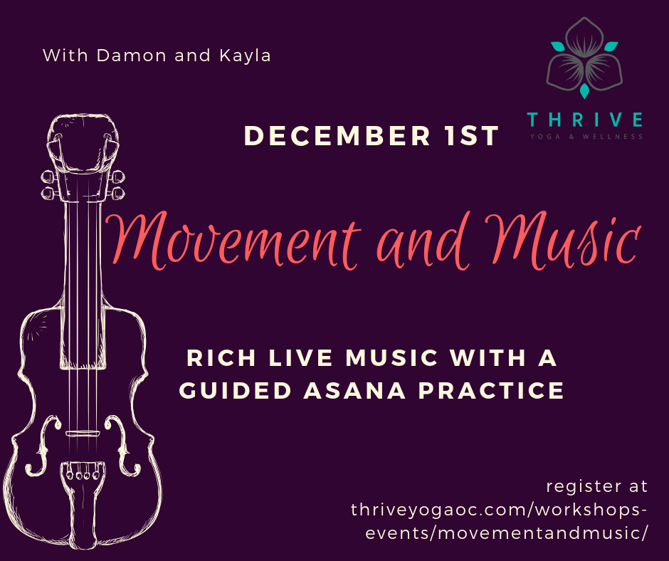 Movement and Music with Damon and Kayla is a fusion of rich live music and attentively guided asana. Damon's music is layered with acoustic and electric elements, drawing from global spiritual traditions and his experience in Western and Eastern music. The music supports the pace and intention of Kayla's asana practice. Kayla (RYT200) is a casual and caring guide with a knack from creative and uplifting sessions.
