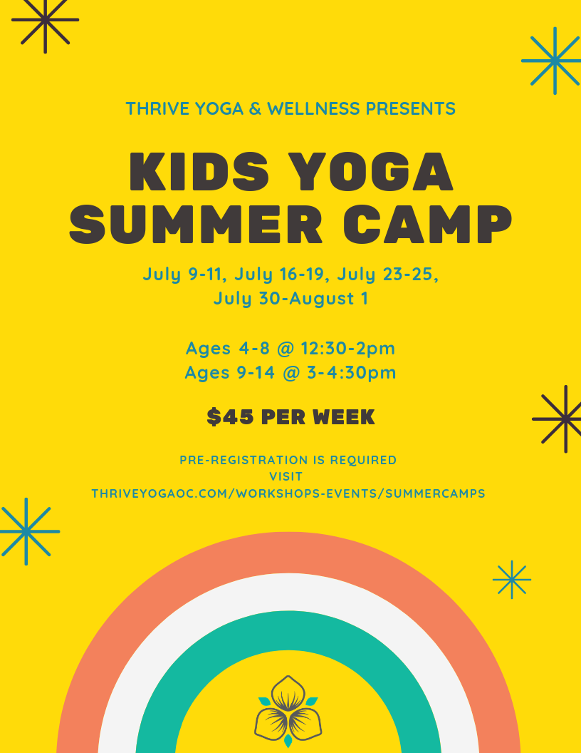 Join us this summer for kids yoga camp! We will learn about mindfulness as a daily practice, move through various styles of yoga, move in ways that connect us to our bodies, and learn to breathe efficiently and meditate. Our instructors will lead the kiddos through games and art projects specifically designed to incorporate these ideas in age-appropriate ways. Yoga is a great tool for calming the nervous system to deal with emotions, stress and trouble focusing. Pre-registration is required for all three days, please reach out with any questions or to request financial aid for your child.