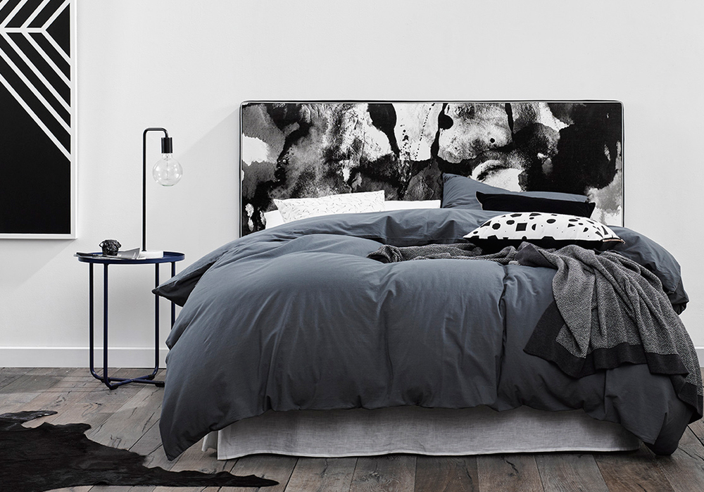 THE PERFECT STORM - A moody take on Mexsii favourite Icelandic Dream,  The Perfect Storm  , brews waves of slate grey and black to create this striking artwork. Silver metallic piping frames the piece and invites lighter tones to shine through. For a masculine edge, style with swathes of deep navy and charcoal greys.