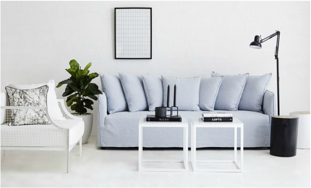 The Bronte Light Blue Italian Linen Sofa: Modern and Contemporary Lounge