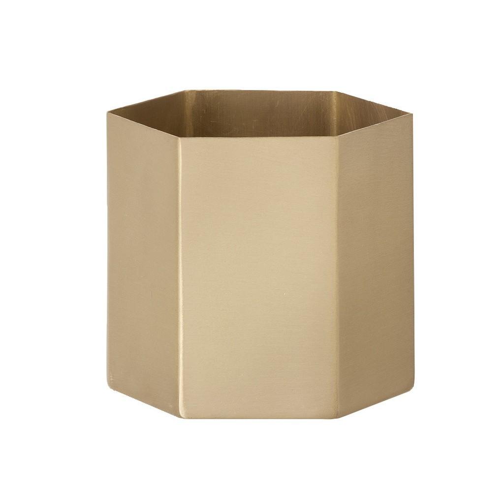 Norsu Interiors -  Brass Hexagon Pot Small - $69.95