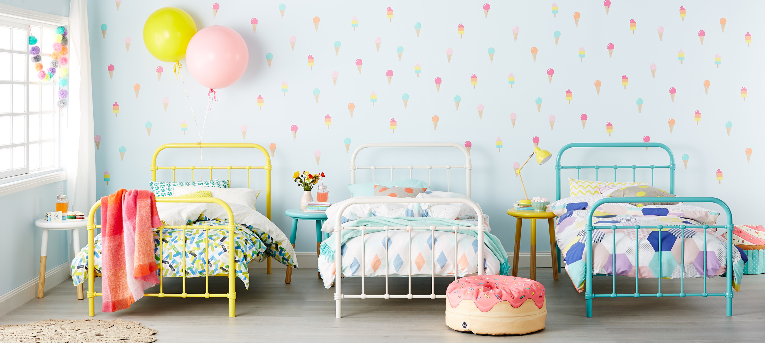 Popsicle Vintage  - Cool is making a comeback with the Popsicle range oozing playfulness and creativity. Fashioned from metal, this ageless design will transform you kids' haven into a fun-filled bright space. These beauties can also work wonders as day beds, leaving a lasting impression in your home. Brighten up your zone in yellow, teal or white. Single Bed: From RRP $399