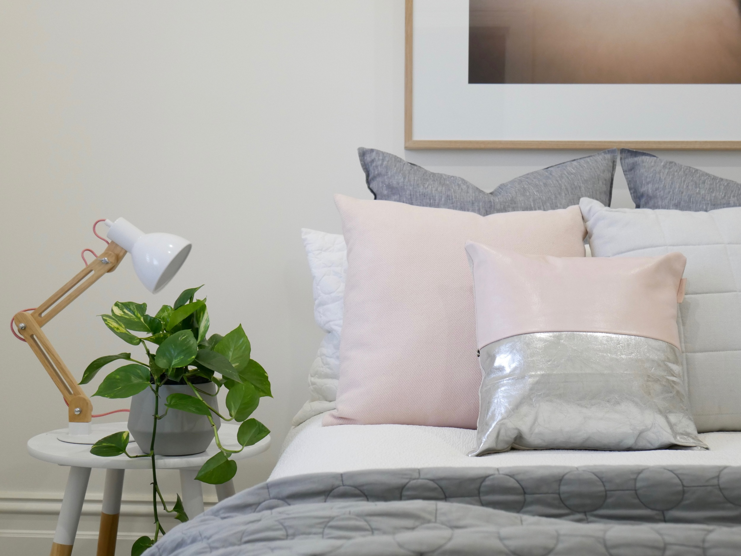 Two-tone Leather Cushion - Blush and Silver