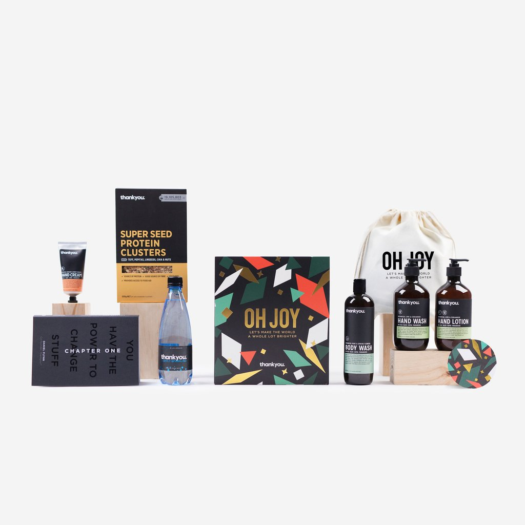 """OH JOY"" - THE COLLECTION $80   This life-changing Christmas gift set includes:  ""Chapter One"" - best selling book by Daniel Flynn 1 x Botanical Lime & Coriander Hand Wash (500ml) 1 x Botanical Lime & Coriander Hand Lotion (500ml) 1 x Botanical Rosehip & Sweet Orange Hand Cream (70ml) 1 x Mint & Spring Flowers Body Wash (500ml) 1 x Super Seed Protein Clusters (500g) 1 x Lightly Sparkling water (500ml) 1 x Limited Edition ""Oh Joy"" Calico Bag"