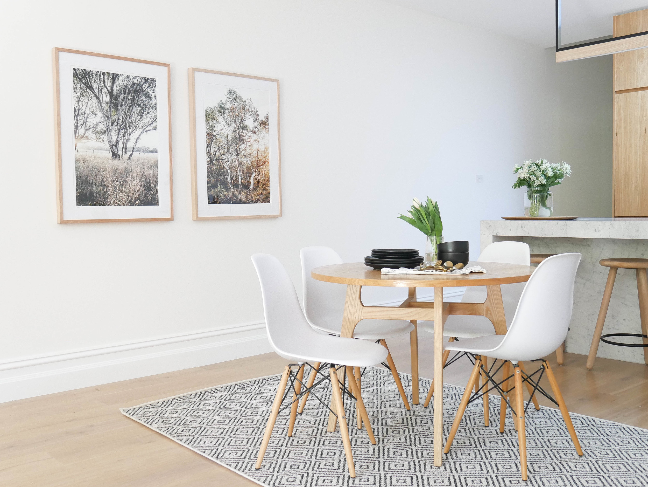 For my dining room I chose the  Layton Outdoor Rug  as it's easy to clean, it matches my decor and has the perfect pile and texture for a 'food area'.