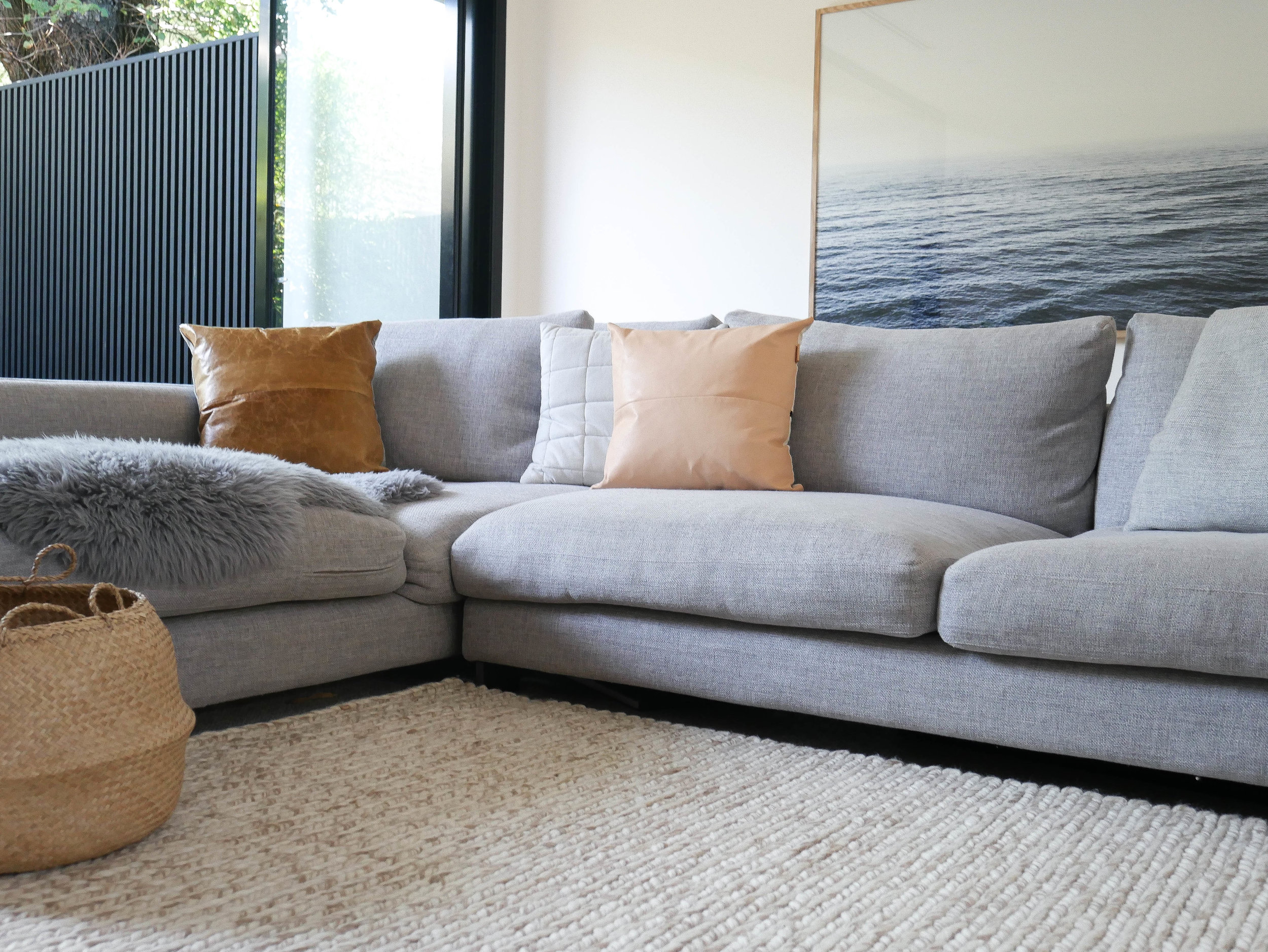 For my lounge I wanted neutral and earthy tones with lots of texture, so I went for  Links Modern.