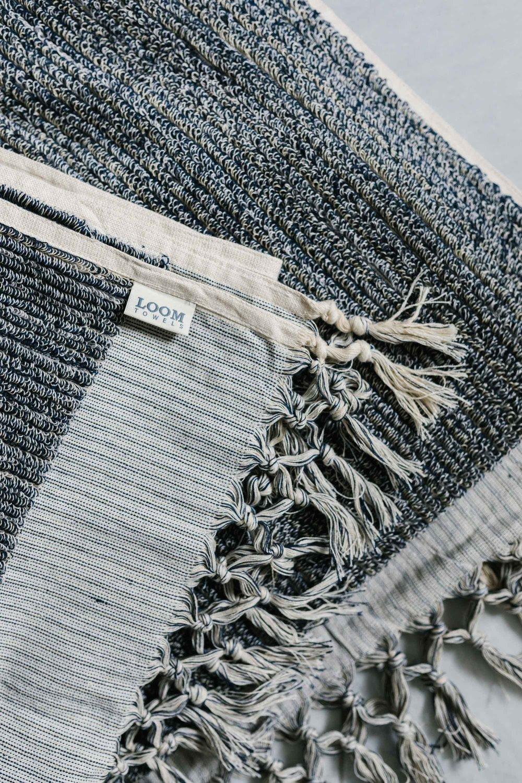 Bath Towel navy & cream - Loom Towels