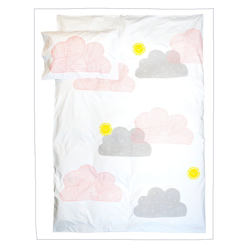 Little Louli -PINK CLOUDY BUT SUNNY QUILT COVER