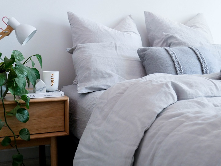 Styled and Photographed by DOT + POP - Fog 100% flax linen bedding set