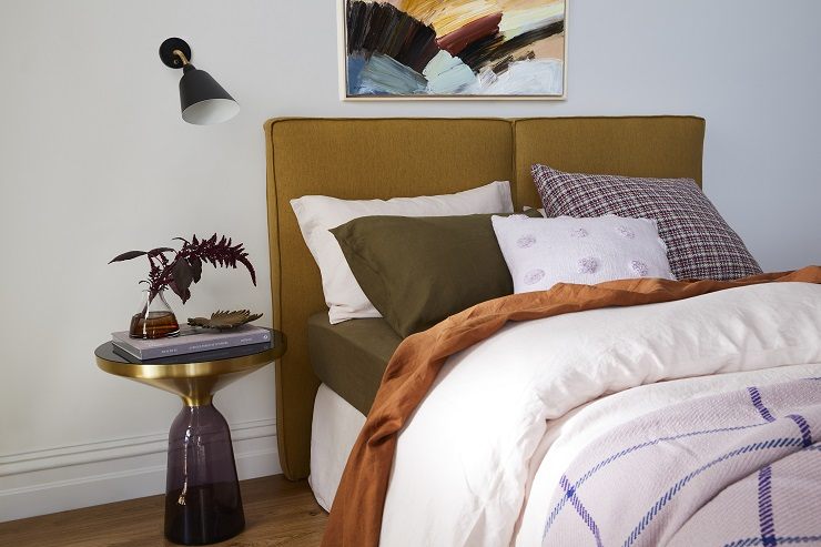 Armelle - offers a contemporary play on a low, casual bed head which has been finished in luxury Belgian linen in the colour du jour – mustard. Two deep cushioned panels are fixed together to create the bedhead, while small flange detail on the side profile is a refined touch.Queen bedhead: from $1720.