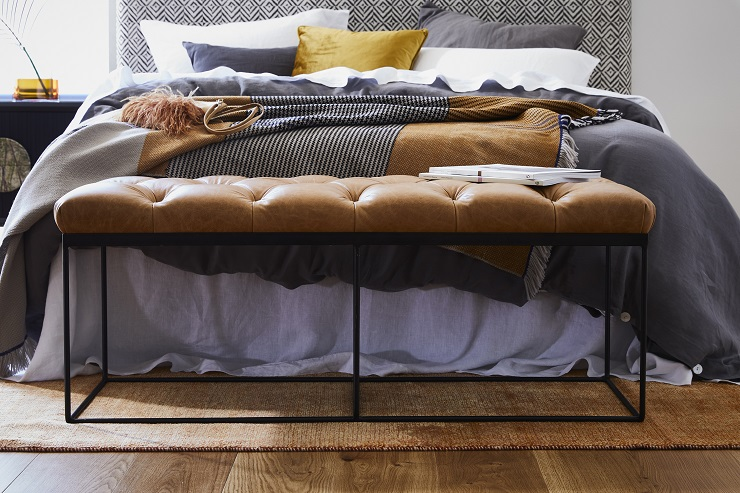 Named after the Tate Modern in London, where it would easily be at home as a bench seat from which to admire art, this leather footstool is a stylish multi-functional piece which suits a variety of décor styles. Tate is finished in luxurious buttery Trench leather and features hand-pleated deep diamond buttoning. A wrought iron frame brings a modern touch to this classic design. Tate  footstool : $1980
