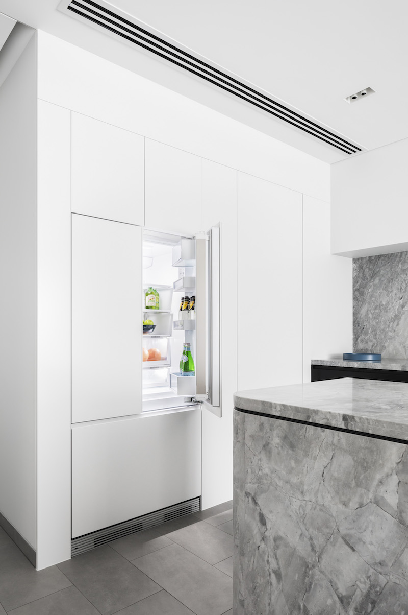 Fisher & Paykel Integrated French Door Fridge for seamless appliance integration in the Broad Residence kitchen |  Interior design:  Baldwin & Bagnall |  Project photographed by:  Katherine Lu