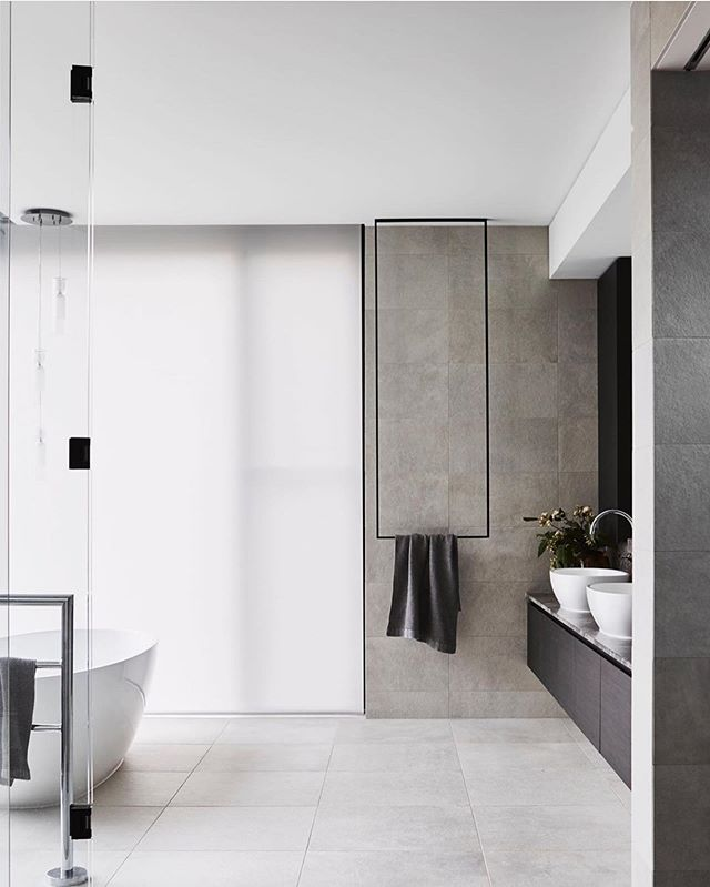 What minimal towel rail dreams are made of 🖤 #project345 by @mckimm  Photography @davekulesza  Styling @beaandcostyle