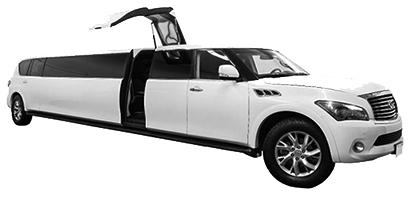 White,Stretch Infiniti with angel wing doors - Seats 1 - 18 passengers