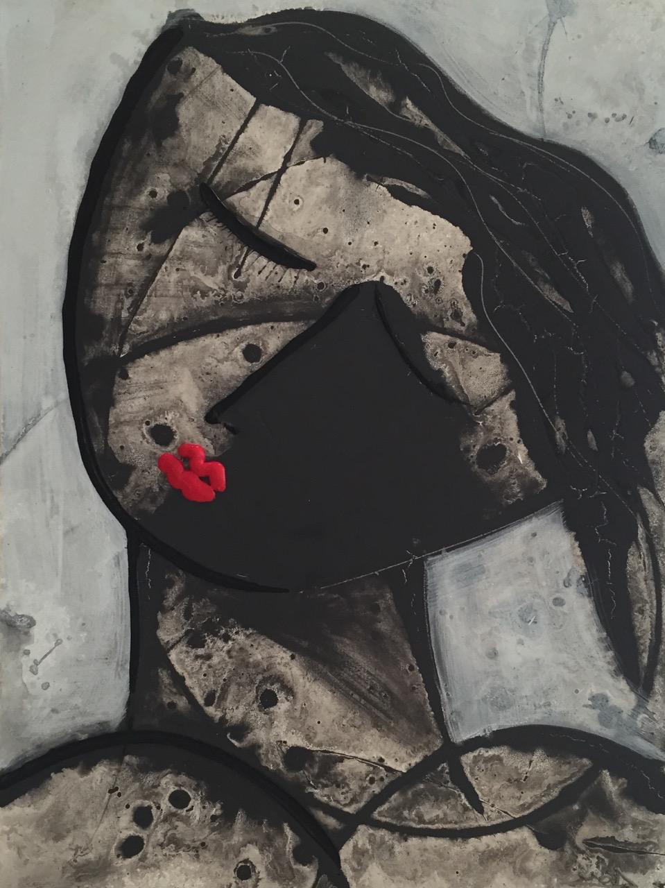 Noir Series Face #1  30 x 40 Acrylic on Canvas   SOLD