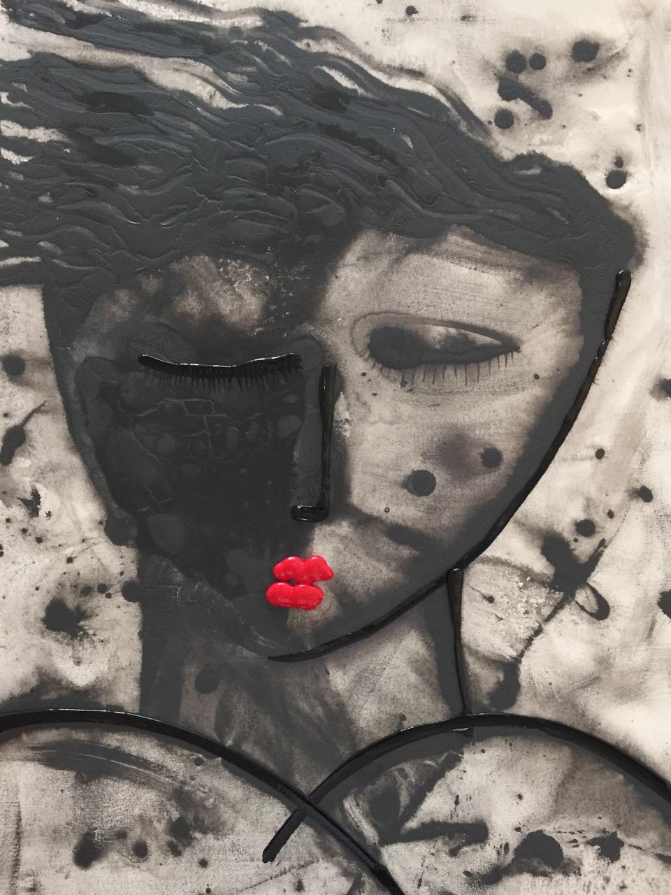 Noir Series Face #2 30 x 40 Acrylic on Canvas  SOLD