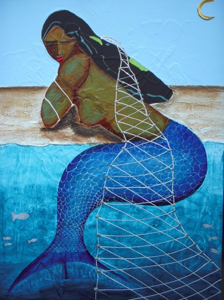 """Caribbean  Mermaid"" 30 x 40 Acrylic on Canvas   SOLD"