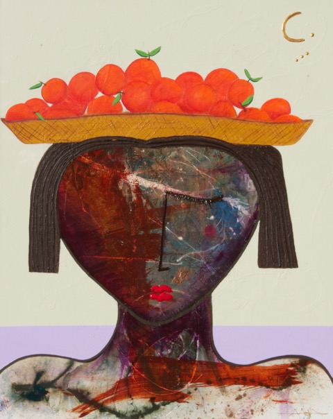 """Girl with Tangelos"" 48 x 60 Acrylic on Canvas"