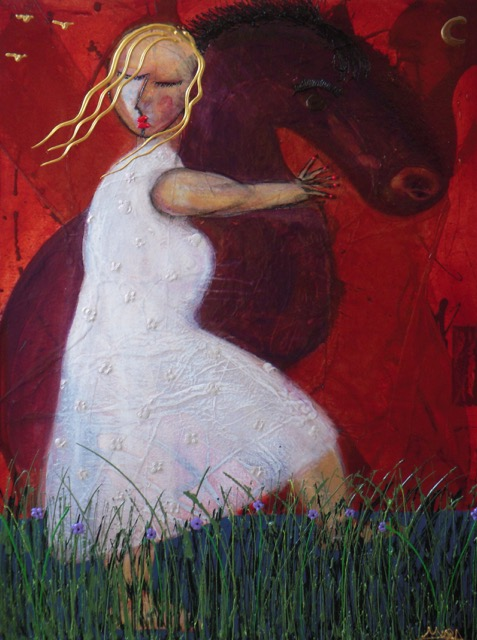 """""""Girl with Horse"""" 36 x 48 Acrylic on Canvas   SOLD"""