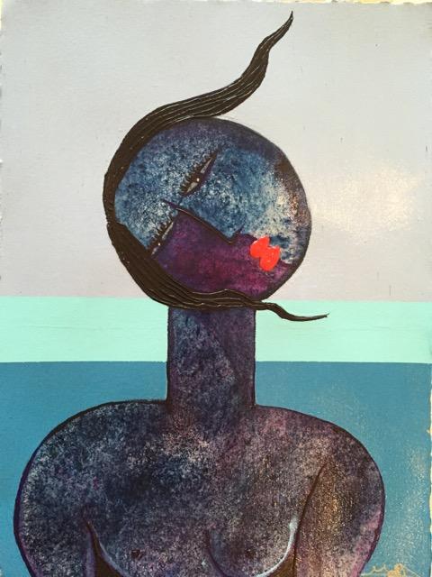 """BIMINI SERIES 5""22 1/2 x 30 1/2  Dry pigments, Acrylic on Arches 300lb watercolor paper"