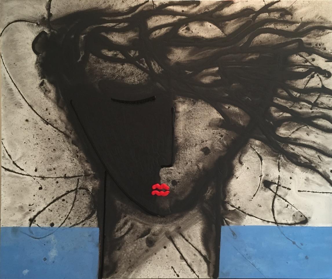 Noir Series Face #8 72 x 60 Acrylic on Canvas  SOLD