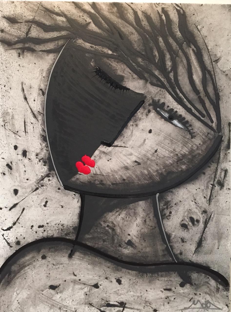 Noir Series Face #6 30 x 40 Acrylic on Canvas  SOLD