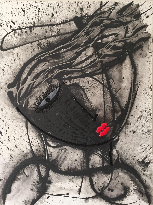 """Noir Series ( La Curiosa)   30"""" X  40""""  Acrylic on Canvas    AVAILABLE"""