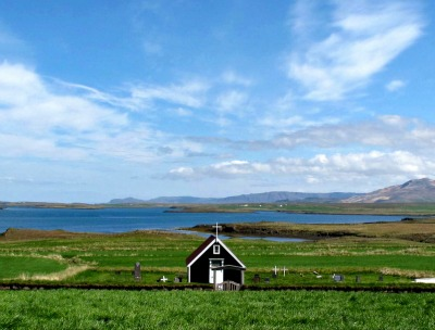 A view of the family church and bay from the Bjarnarhöfn shark museum, Snaefellsnes peninsula