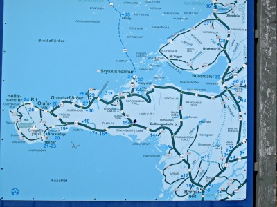 Our route - Borganes (9), Hellnar (21), Stykkisholmur (34) and back to Reykjavik
