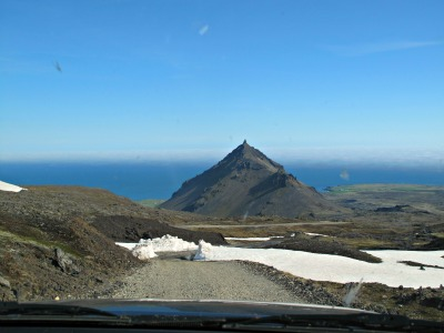 The road down from the Snaefellsjokull glacier, you can see how high we climbed!