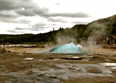 Strokkur geyser getting ready to blast