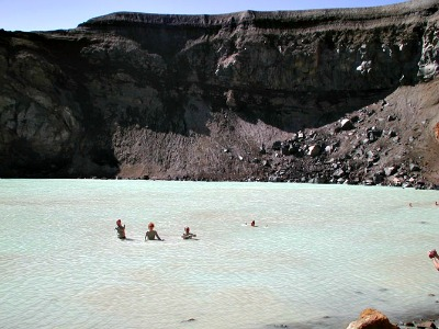 Bathing in Viti crater ©Alan Clewlow