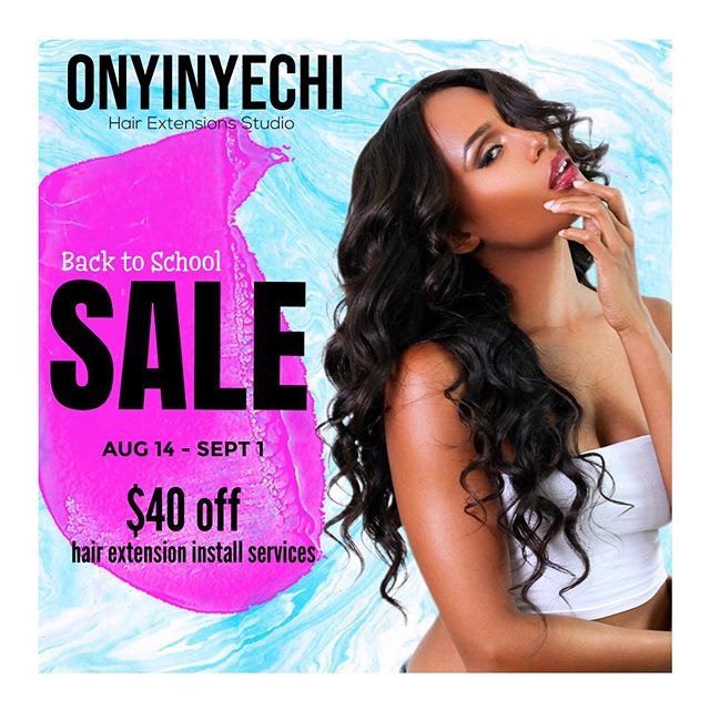 We're having a sale! Book now and take advantage of the end of summer savings! $40 off all hair extensions services including - Full & partial sewin weaves, wig installs, and lace frontal installs. Now through September 1st.  __________________  #hairextensions #lahairstylist #longbeachhairstylist #styleseat #ochairextensions #bundlesale #lacefrontals #lacefrontwig #customwigs #backtoschoolsale #phenixssalonsuites #behindthechair