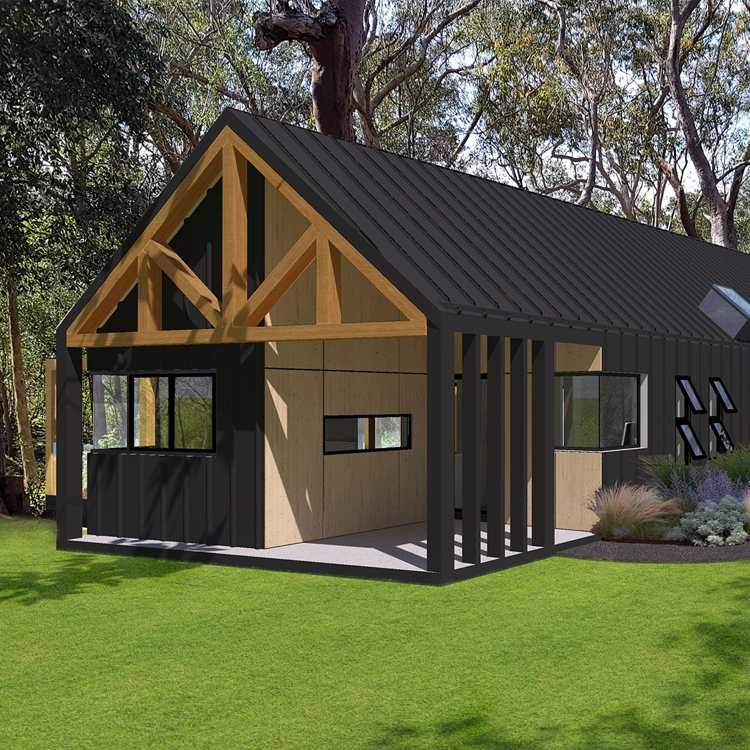 Granny Flat   This project involved the addition of a secondary dwelling in a rural setting. The site was restricted to a triangular shape, bound by a watercourse and boundary setbacks.