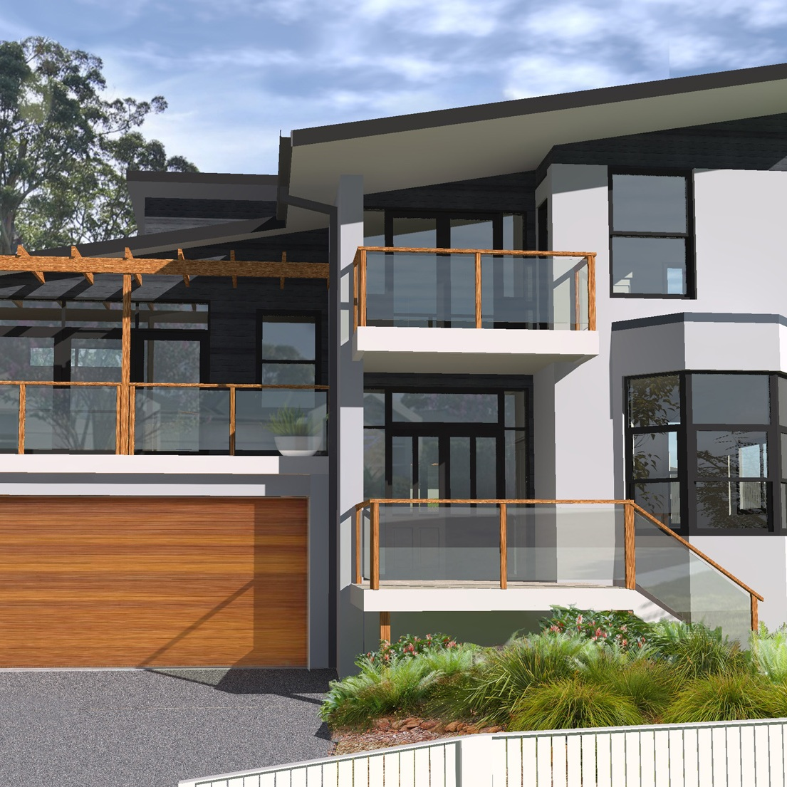 New Home & Granny Flat   This project is a new two storey residence and an additional granny flat on a narrow, sloping site with a southern aspect.