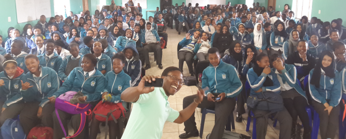 The LevelUp Team with high school learners at Lentegeur Secondary School in Cape Town.