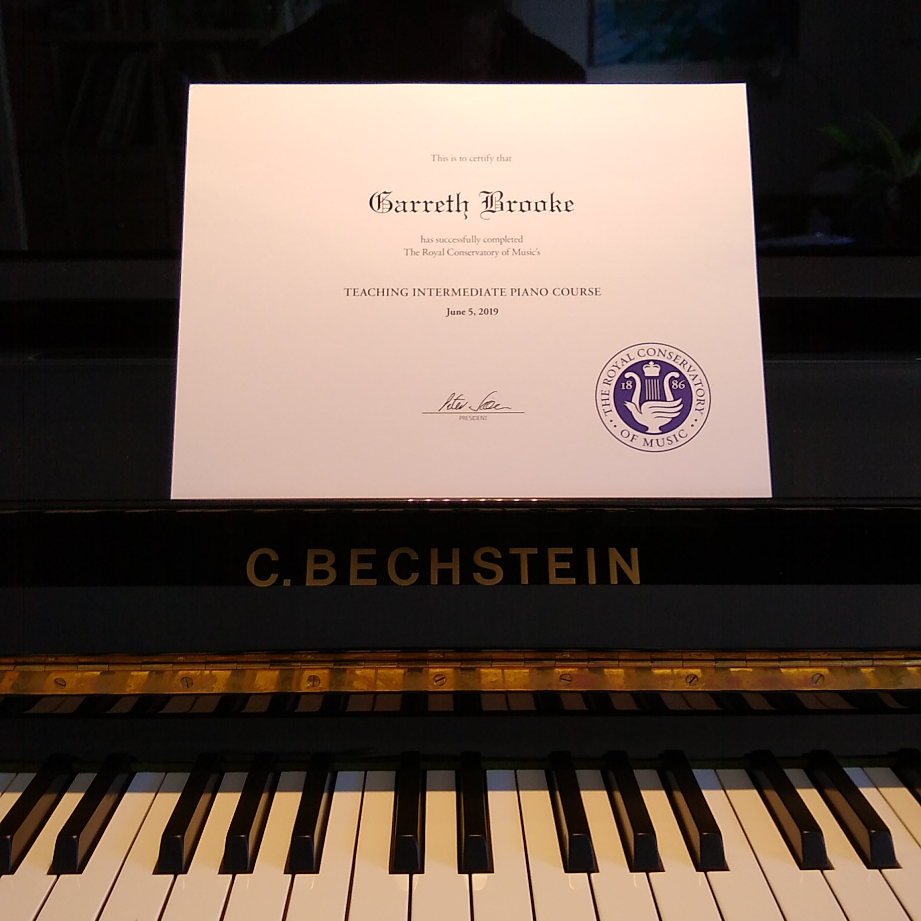 RCM Intermediate Piano Garreth Brooke Certificate
