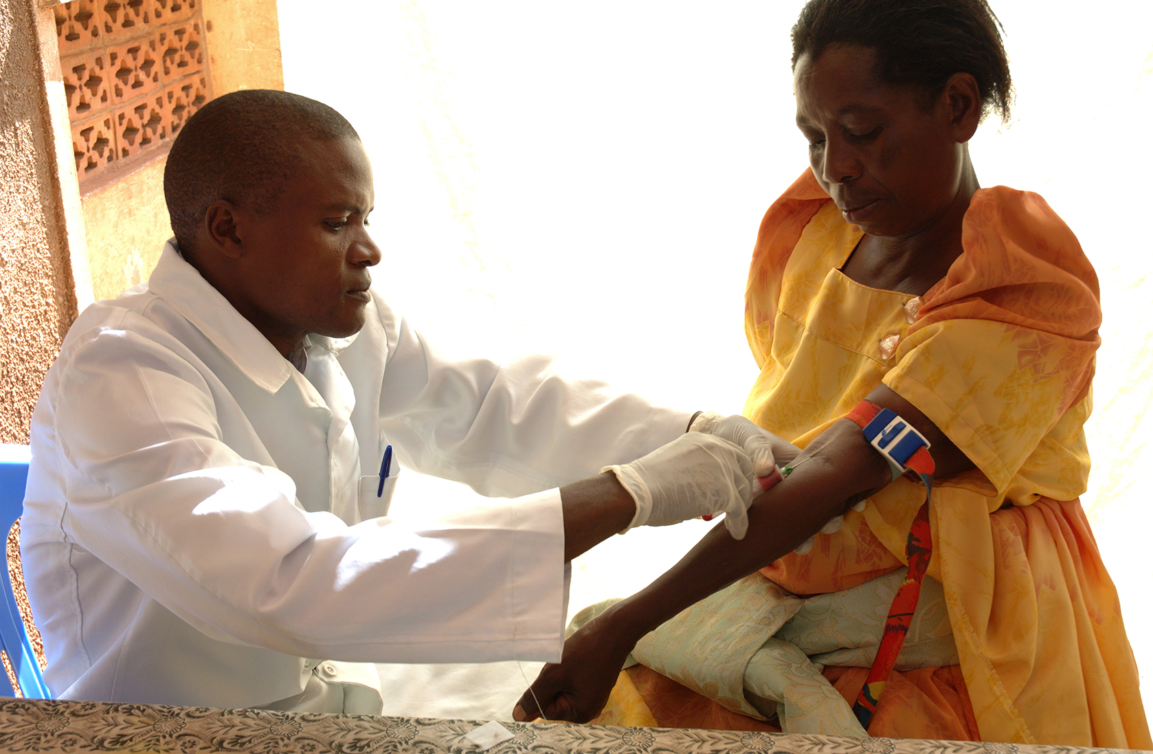 Vaccination at the Kampala health center.